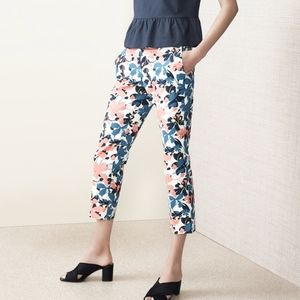 Halogen Muted Floral Slim Cropped Pants